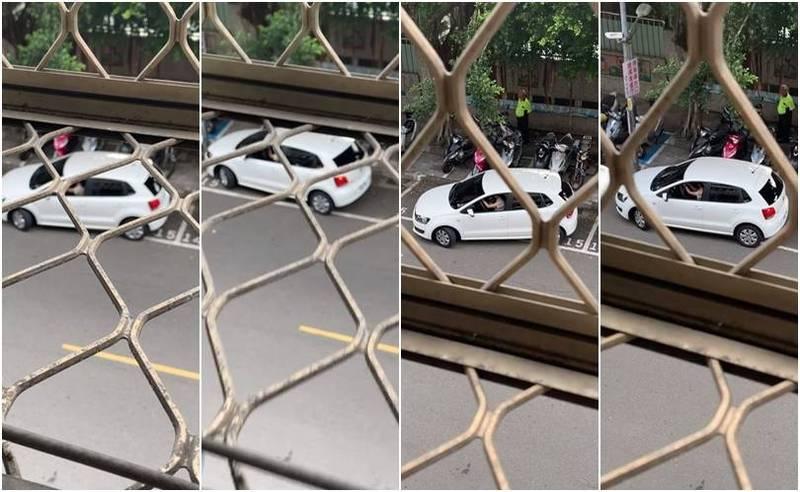 網友錄下一輛小客車停進路邊車格的過程,至少花了21分鐘。(圖擷取自爆廢公社,本報合成)