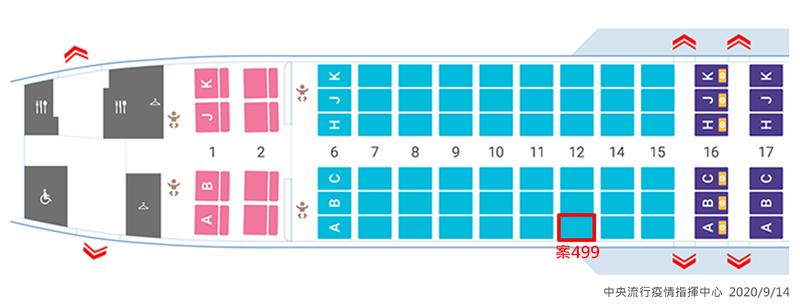 案499班機座位圖。(指揮中心提供)