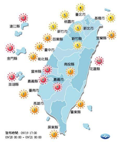 紫外線方面,除了雲林縣、嘉義縣、嘉義市、花蓮縣,以及離島地區為「過量級」,其他地區皆為「中量級」至「高量級」。(圖擷取自中央氣象局)
