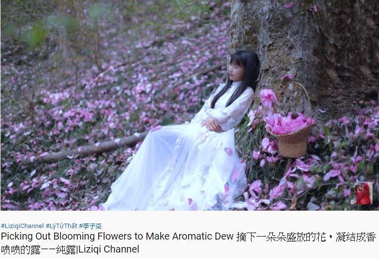 中國四川綿陽深山的29歲農家姑娘李子柒,將農村生活拍攝成世外桃源,躋身一線網紅,不但在Youtube上擁有高達842萬的訂閱數,更深受中國各個官媒熱捧。(圖擷取自Youtube_李子柒 Liziqi)