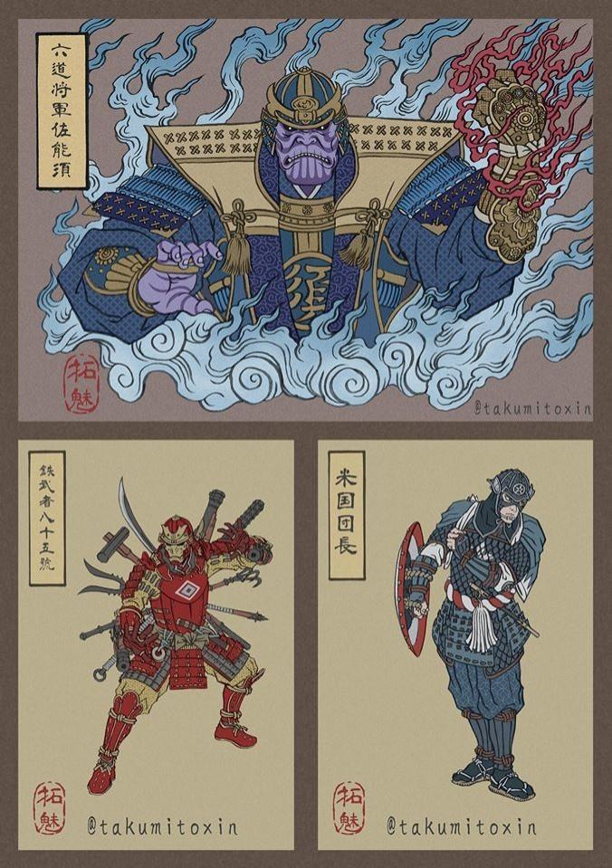 日本插畫家Takumi Toxin將復仇者聯盟的角色畫成浮世繪風格,考量各角色的性格與特徵並配上相符的日本人物,讓美漫與日本神話東西合璧的衝突感十分吸睛。(圖擷取自Takumi 臉書)