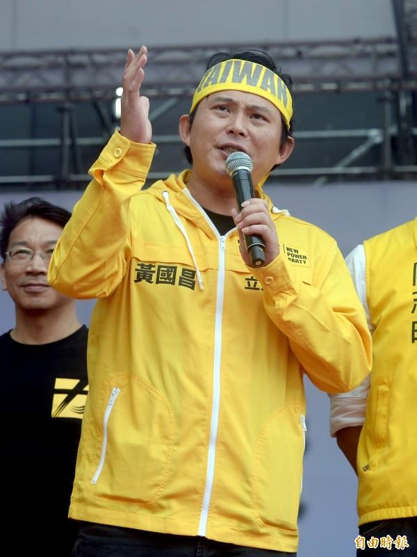 黃國昌今天出席喜樂島聯盟舉辦的「全民公投反併吞」活動。(記者林正堃攝)