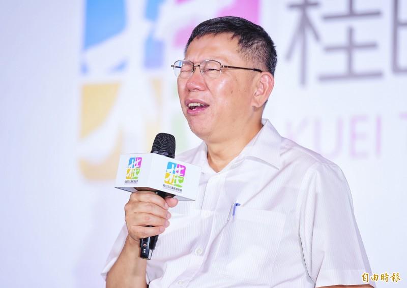 《TVBS》最新民調中,台北市長柯文哲支持度不敵現任總統蔡英文。(記者王文麟攝)