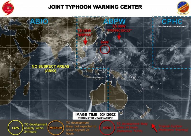 美軍預測,94W可能在24小時內成為熱帶氣旋。(圖擷取自JTWC)