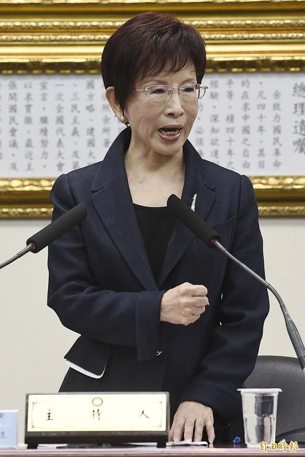 洪秀柱表示,國民黨要表達抗議,中國政府向肯亞施壓,要求將8名台籍人士強行送至中國,是無視台灣民眾的基本人權。(資料照,記者陳志曲攝)
