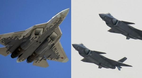 中國官媒嗆蘇-57戰機(左)垃圾;俄媒體批殲-20(右)山寨機。(美聯社,本報合成)