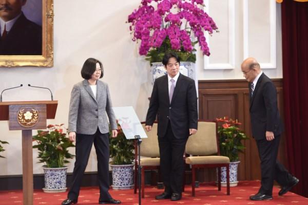 赖清德感谢总统蔡英文的信任和托付。(记者丛昌瑾摄)