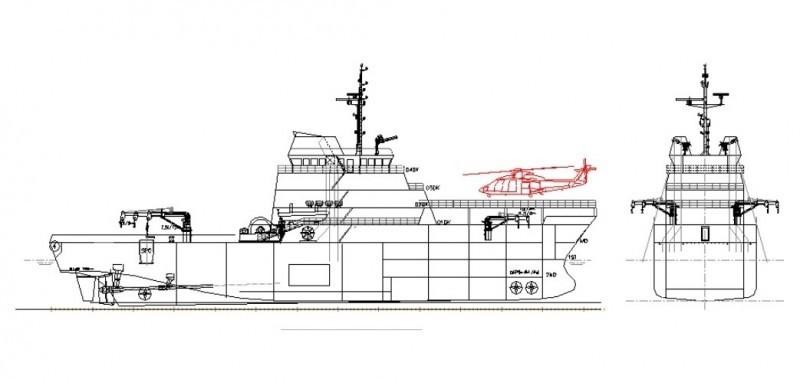海軍曾對外說明國艦國造計畫,此為新型救難艦規劃圖。(資料照)