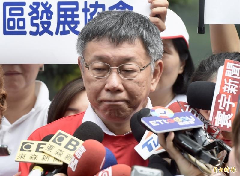柯文哲說,台灣的總統為什麼會從開始民選之後,就一直做不好,就是因為沒有好好訓練,「不管是阿扁、馬英九,還是蔡英文」。(記者簡榮豐攝)