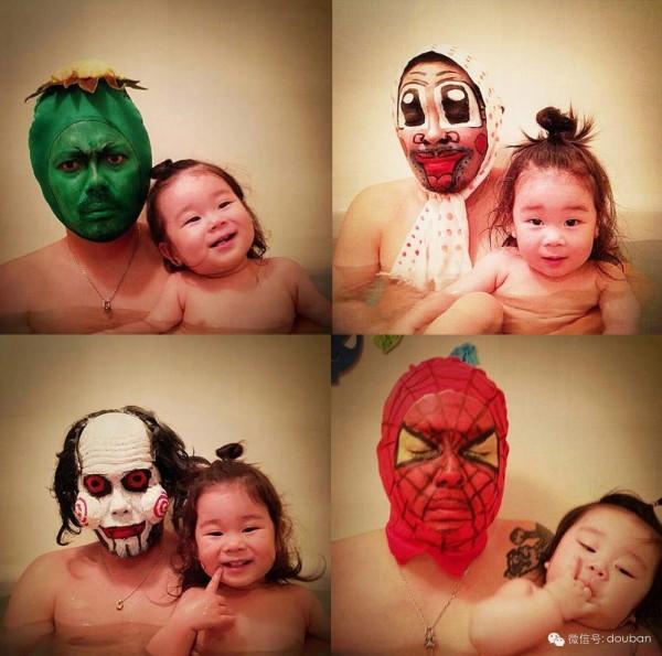 日本爸爸扮過海棉寶寶、小叮噹、胡迪、蜘蛛人,甚至是納美人、中國殭屍、進擊的巨人...(照片擷自微博)