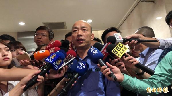 韓國瑜今早北檢出庭。(記者錢利忠攝)