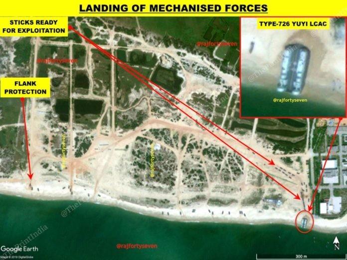 巴哈特解釋,中國071型船塢登陸艦上的4架超級黃蜂式直升機進行空中偵察,同時由726型氣墊登陸艇搶灘。(圖擷取自theprint.in)
