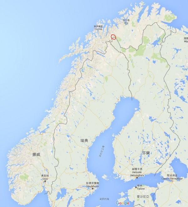 挪威要將圖中紅圈處,與芬蘭的國界往後退,將哈爾蒂亞峰的最高峰送給芬蘭。(圖擷取自GOOGLE地圖)