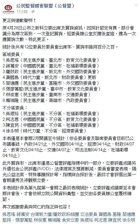公督盟臉書全文。(圖擷自公民監督國會聯盟(公督盟)臉書)