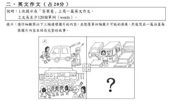 英文科的題目說明有提到要寫英文。(圖擷取自大考中心網站)