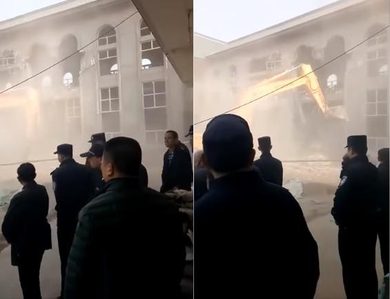 位於中國陝西的天主教鳳翔教區千陽教堂,4日遭中國政府強拆夷為平地,讓不少曾受惠於教堂的民眾悲痛不已。(擷取自「我是中壢人」)