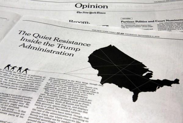 《紐時》匿名投書指出,川普政府的部分高層正發動「無聲抵抗」,以保護美國不受川普破壞。(美聯社)