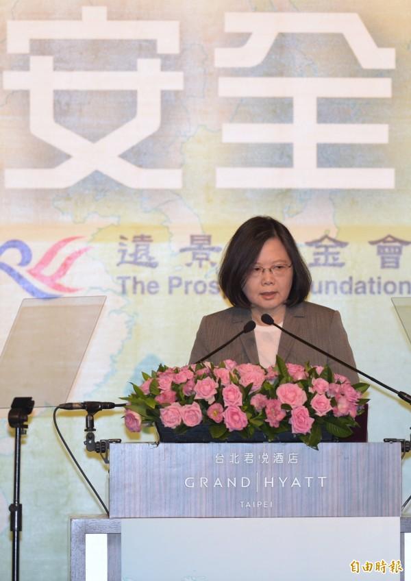 蔡英文總統8日出席「凱達格蘭論壇:2017亞太安全對話」,致詞時指出台灣將致力維護亞太安全。(記者張嘉明攝)