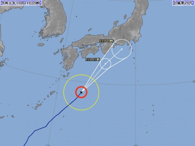 浣熊颱風預計在今晚轉變為溫帶低氣壓,影響日本太平洋測地區。(圖擷取自日本氣象廳)