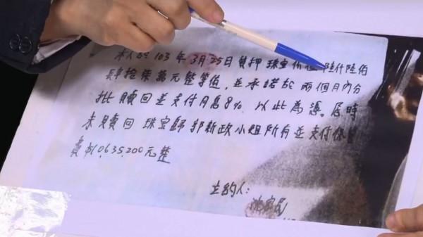 羅淑蕾出示沈家民簽具的合約書,批評郭新政根本是高利貸。(圖擷取自羅淑蕾臉書)