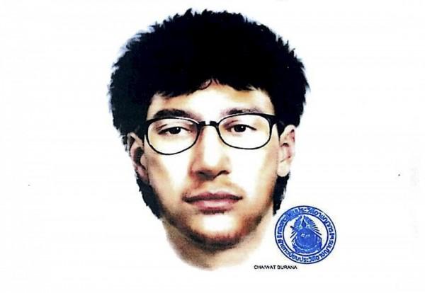 黃衣男子的畫像被公布,泰國當局希望盡快找到這名嫌犯。(路透)