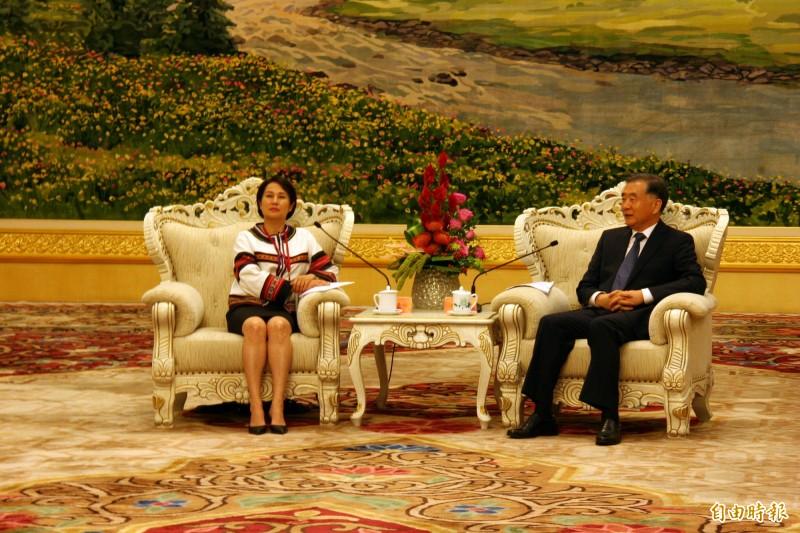 中國全國政協主席汪洋(右)28日下午在人民大會堂新疆廳,會見無黨籍立委高金素梅(左)所帶領的原民民代參訪團。(中央社)