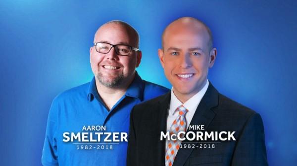 美國《WYFF》電視台主播麥考密克(Mike McCormick,右)與攝影記者斯梅爾澤(Aaron Smeltzer,左),報導豪雨狀況卻不幸被大樹壓死。(圖擷自WYFF News 4推特)