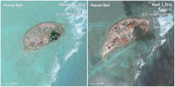 2014-2016畢生礁(Pearson Reef)。(圖擷自商業內幕)