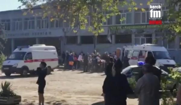 東歐克里米亞半島今(17)日一間學校發生氣爆及屠殺案,目前已知造成18死50傷。(美聯社)