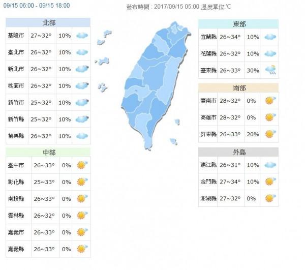 今天各地天氣概況。(圖取自氣象局)