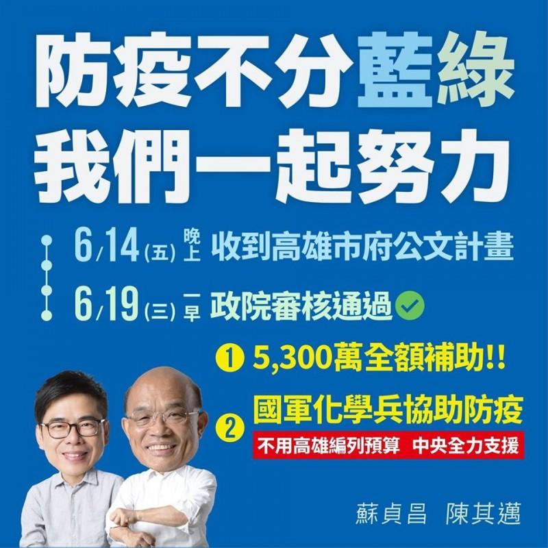 陳其邁在臉書表示,登革熱不分藍綠,中央全力支援高雄防疫。(圖擷取自陳其邁 Chen Chi-Mai臉書)