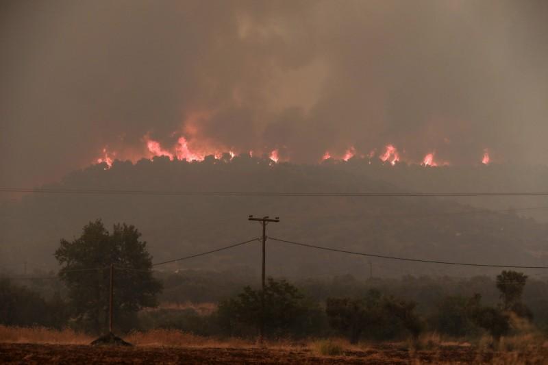 希臘至少有4個地區遭野火肆虐,尤比亞地區已宣布進入緊急狀態。(美聯社)