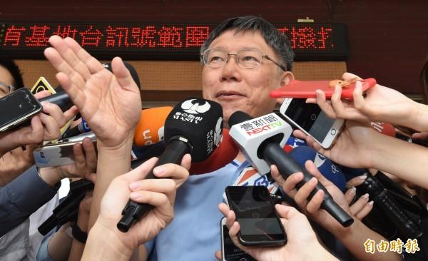 台北市長柯文哲被爆動員局處首長拍文宣影片,但消息遭到市府發言人劉奕霆否認。(記者劉信德攝)