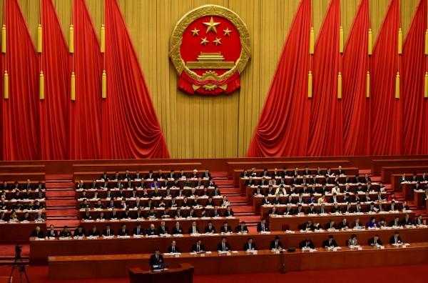 中國人大記者會甘肅省代表團的受訪提問環節,幾乎所有外媒記者都沒有提問的機會,竟然只有1名南韓記者的「蘭州拉麵」問題被准許提問。圖為中國人大會場。(法新社)