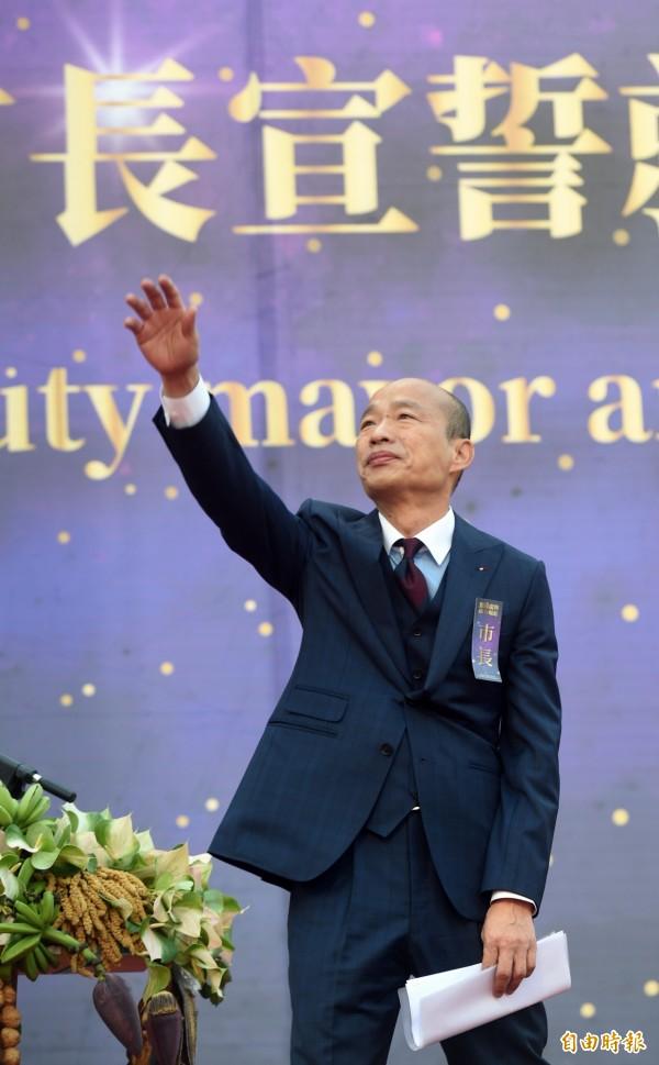 韓國瑜穿西裝出席就職大典。(記者張忠義攝)