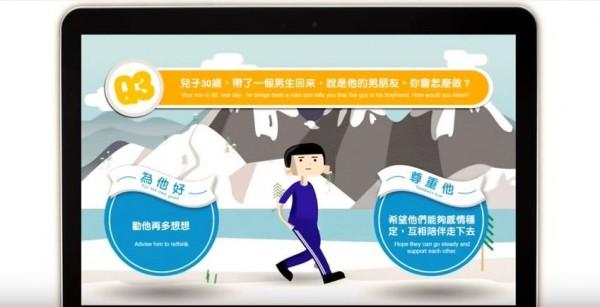 廣告公司推互動遊戲,讓父母體會同志兒女的壓力。(圖擷取自影片)
