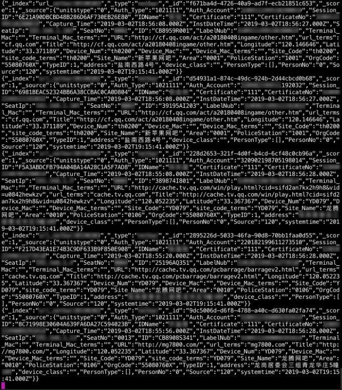 中國中央的監視數據庫被荷蘭駭客破解,封包原始碼記錄使用者的連網確切地點。(圖擷取自Victor Gevers推特)
