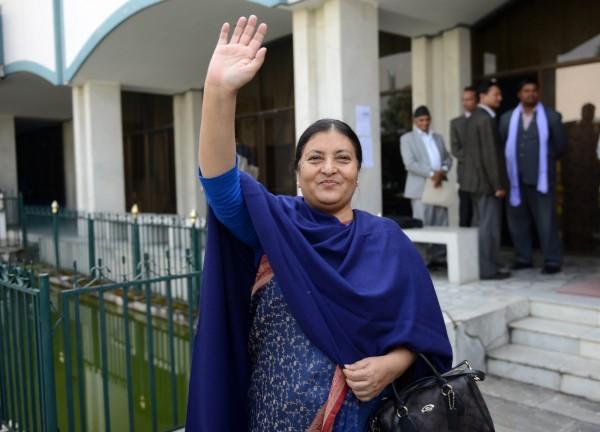 尼泊爾共產黨副主席碧雅.班達里成為尼泊爾史上,首位女總統。(法新社)