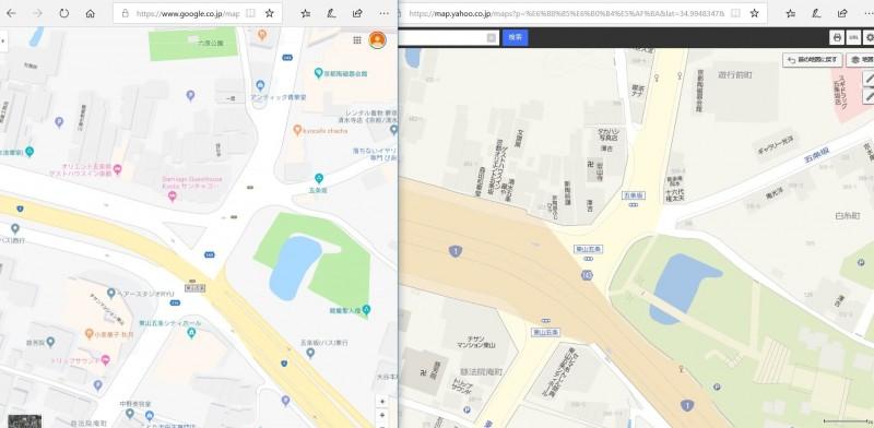 近期的Google地圖(左)部分地區未清楚標示車站名稱。圖右為Yahoo!MAP比較圖。(圖擷取自推特)