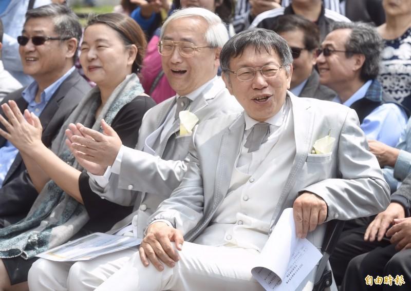 台北市長柯文哲今參加「2019竹子湖海芋季」開幕記者會。(記者簡榮豐攝)