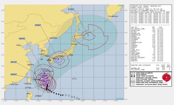 美軍聯合颱風警報中心對潭美颱風發布參考警告,目前台灣大部分地區不在颱風7級風範圍內。(圖擷取自JTWC)