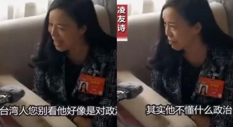 凌友詩認為,台灣人不了解政治,只是像參加廟會拜拜那樣。(圖擷取自CNR)