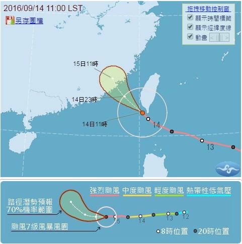 馬勒卡颱風緊跟在強颱莫蘭蒂之後。(取自中央氣象局)