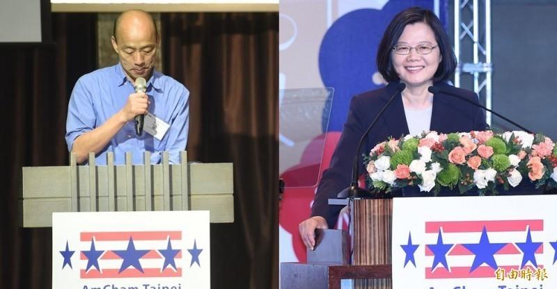 根據綠黨今(18)日公布的最新民調,在總統支持度部分,總統蔡英文(右)以49.1%贏過韓國瑜(左)32.25%,大勝近17個百分點。(資料照)