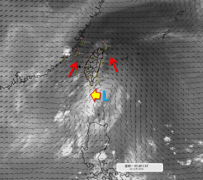 一股冷心低壓通過,讓台灣大氣環境不穩定,一早北台灣及恆春半島就出現降雨狀況,午後可能再度重演大雷雨。(圖擷自「天氣職人-吳聖宇」臉書)