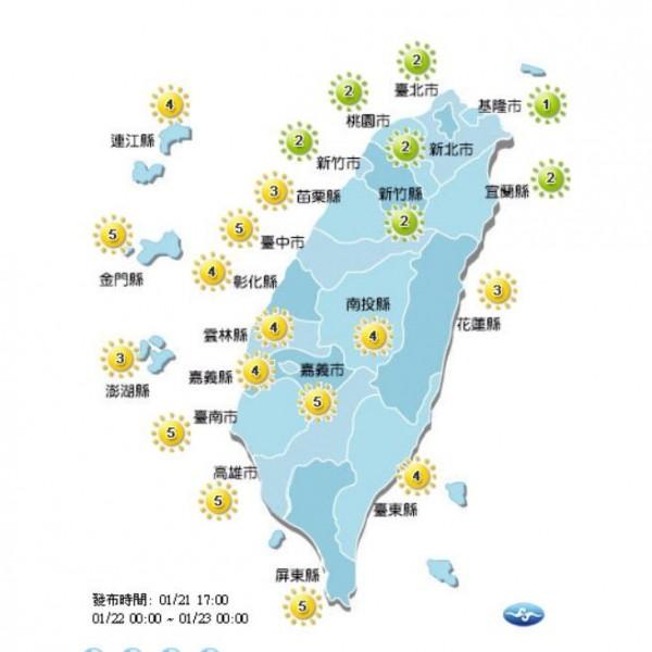 紫外線方面,新竹以北和宜蘭地區為綠色低量級指數,苗栗以南及外島地區則為中量級。(圖取自中央氣象局)
