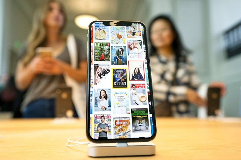 An iPhone is displayed at the Carnegie Library Apple Store in Washington on Saturday.  Photo: EPA-EFE