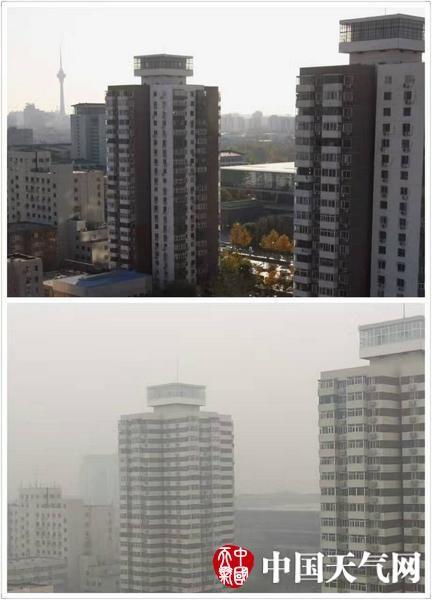 中國有媒體拍攝對比圖,突顯霧霾嚴重的狀況。上圖為2011年拍攝,下圖為今日拍攝。(圖擷取自中國天氣網)
