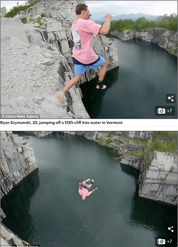美國男子雷恩(Ryan Szymanski)日前和友人到郊區一處34公尺高(相當於11層樓)的懸崖,挑戰自己的跳水記錄。(圖擷取自每日郵報)