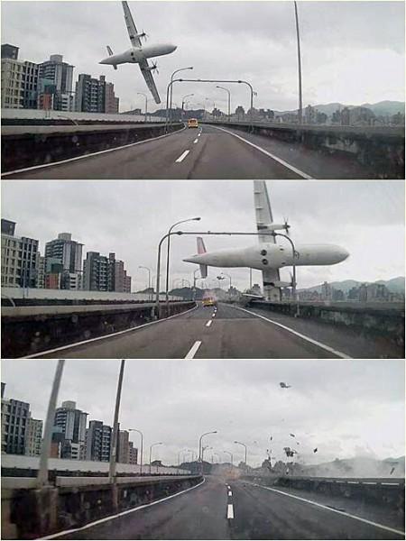 復興航空民航機疑撞高架橋墜落南湖大橋約800公尺的內溝溪。(圖擷取自推特)